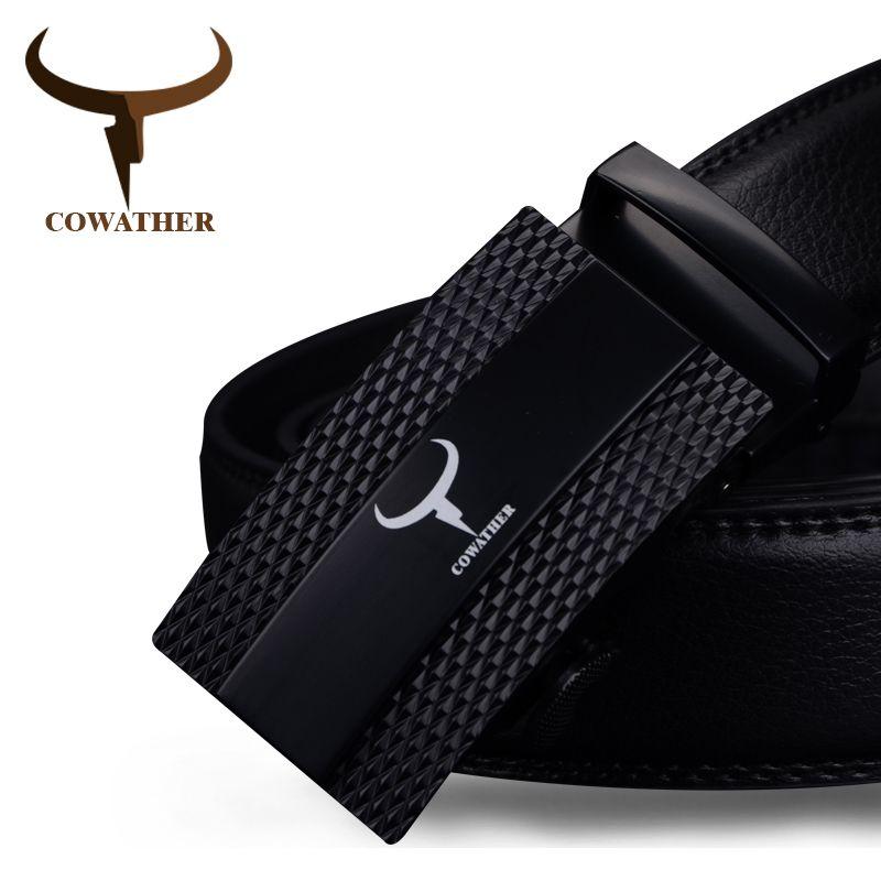 COWATHER 100% cow genuine <font><b>leather</b></font> belts for men 2017 top qulaity automatic alloy buckle male strap casual design original brand