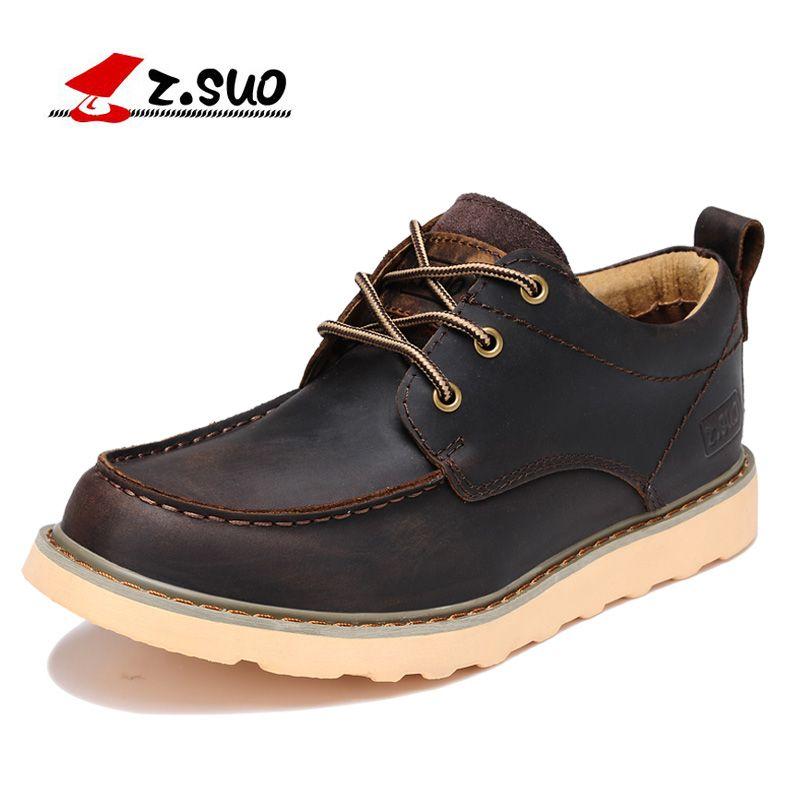 Z. Suo hombres zapatos, de cuero zapatos casuales para ayudar a baja masculina moda retro zapatos de suela de goma de herramientas. zapatos casuales zs808
