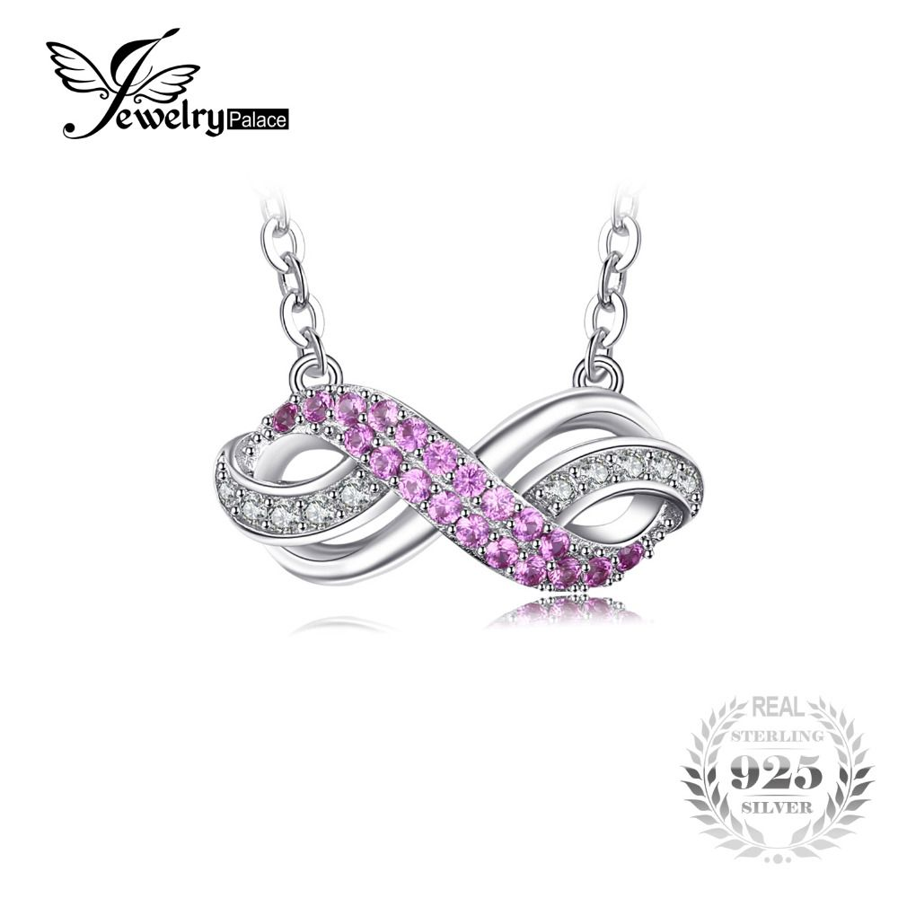 JewelryPalace Forever Love Infinity Created Pink Sapphire Anniversary Promise Pendant Necklace 925 Sterling Silver 45cm Chain