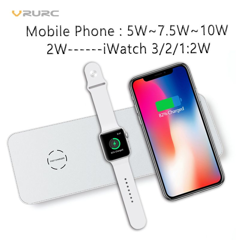 Vrurc 3 in 1 Qi Wireless Charger For iPhone X 8 Plus For Apple Watch 2 3 QC 3.0 Quick Charger Pad For Samsung Huawei HTC Xiaomi