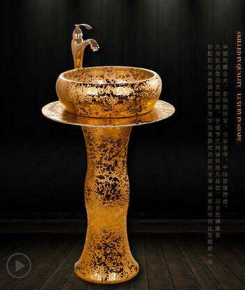 Europäischen stil keramik bad becken sets spalte waschbecken aufsatzbecken künstlerische magnificent pool