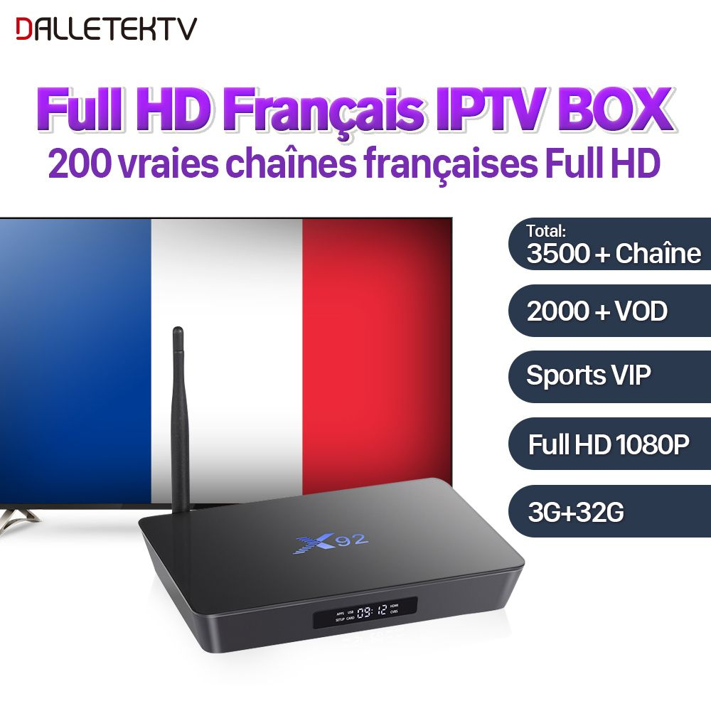 X92 Full HD French IPTV Box Android 7.1 S912 3G 32G H.265 SUBTV IPTV Subscription France Arab VIP Sports IPTV VOD French Movies