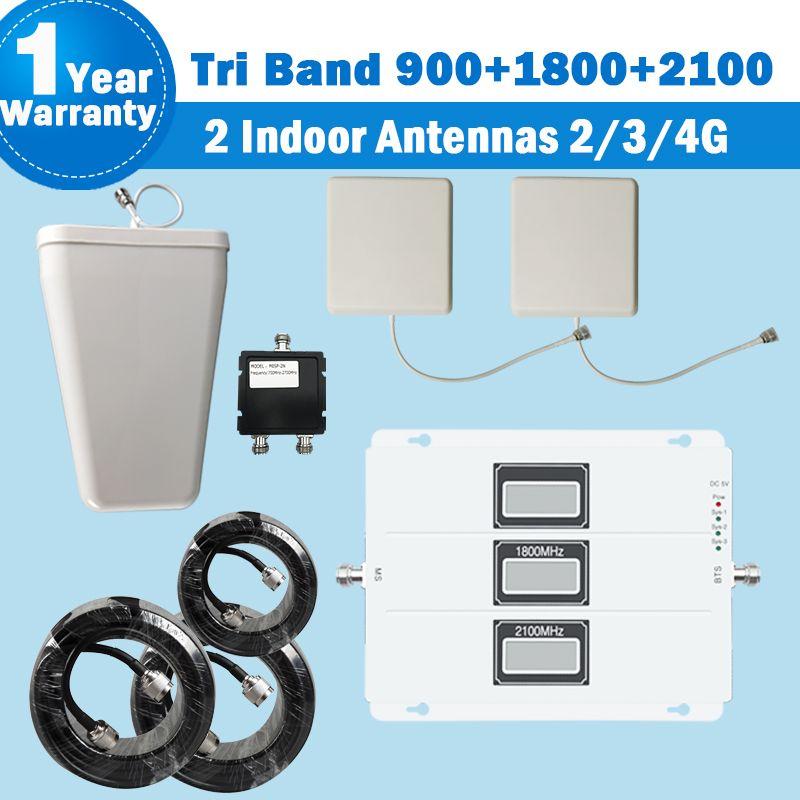 2017 Lintratek Tri-band Repeater 2 Indoor Antenne 2G 3G 900 2100 4G DCS/LTE 1800 Handy Signal Booster 2G 3G Verstärker S30