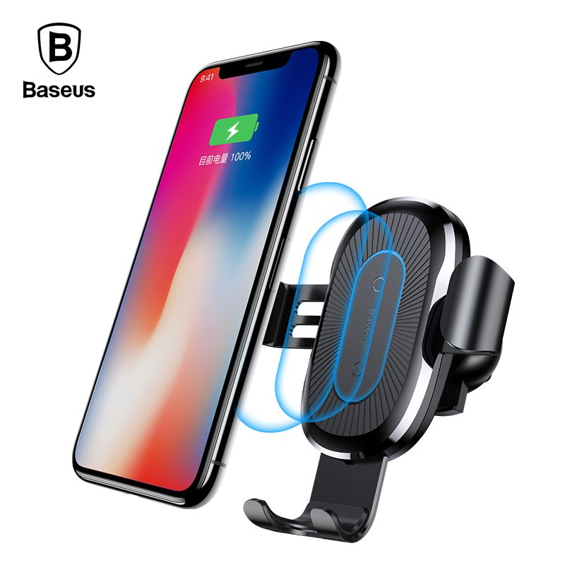 Baseus 10W QI Wireless Charger Car Holder For iPhone X Plus Samsung S8 S9 Fast Car Mount Wireless Charging Charger Phone Holder