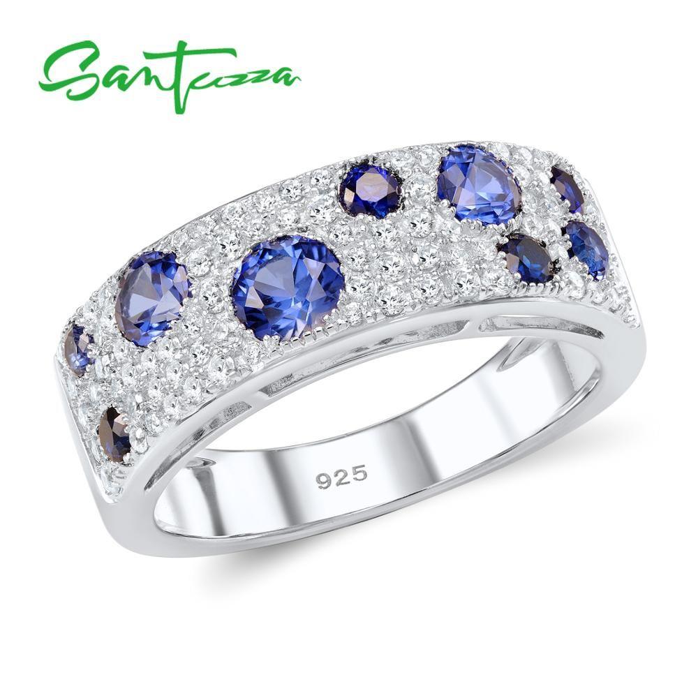 SANTUZZA argent anneaux pour femmes authentique 925 en argent Sterling étincelant bleu Nano cubique zircone bijoux de mode à la mode