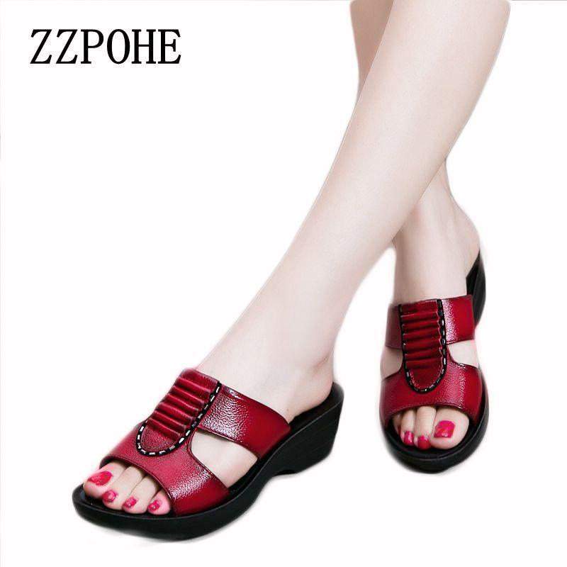 ZZPOHE D'été nouvelle mère pantoufles dames de mode pantoufles doux et confortable casual grande taille chaussures Femme Pente avec pantoufles