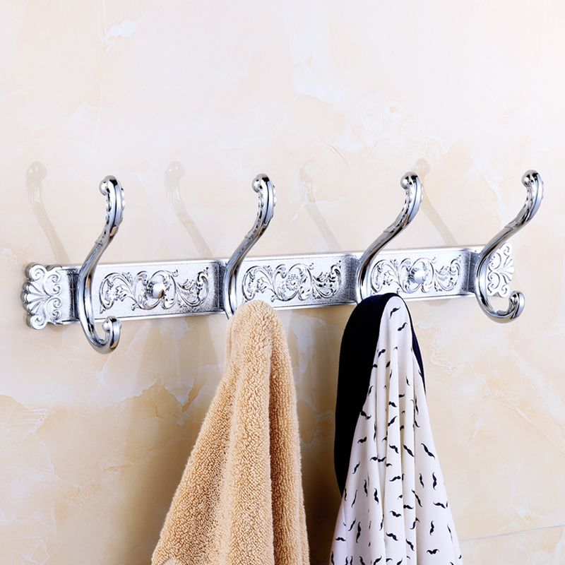 Chrome Bathroom Hook Hanging Clothes Back Door Stainless Steel/copper Towel Hanger 4/5 Line Hook Wall Mounted