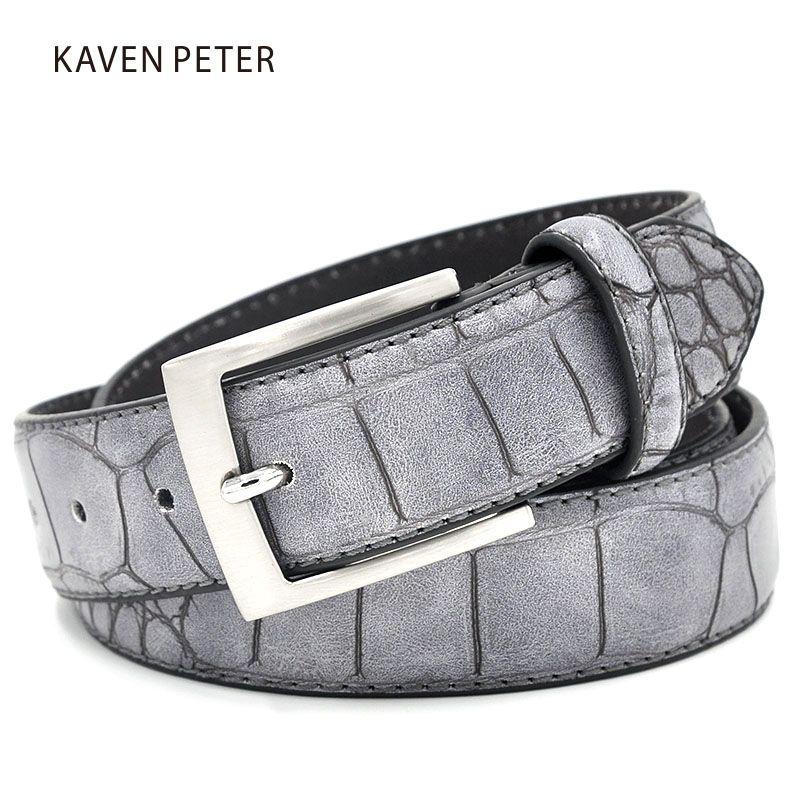 Ceintures de mode pour hommes ceintures en Faux Crocodile avec ceinture en Crocodile de luxe en cuir fendu