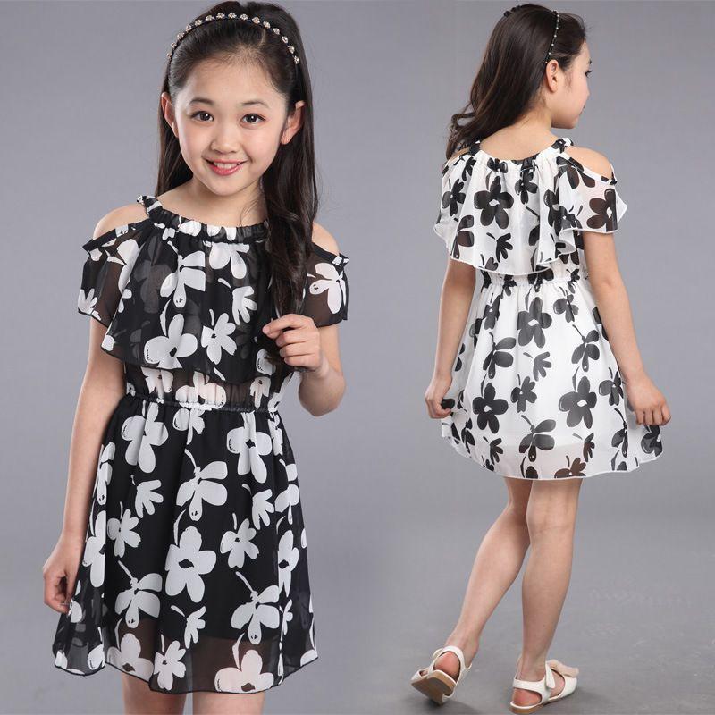 Robes d'adolescente été 2019 vêtements pour enfants enfants robe de fleur en mousseline de soie robes de princesse pour l'âge 7 8 9 10 11 12 ans