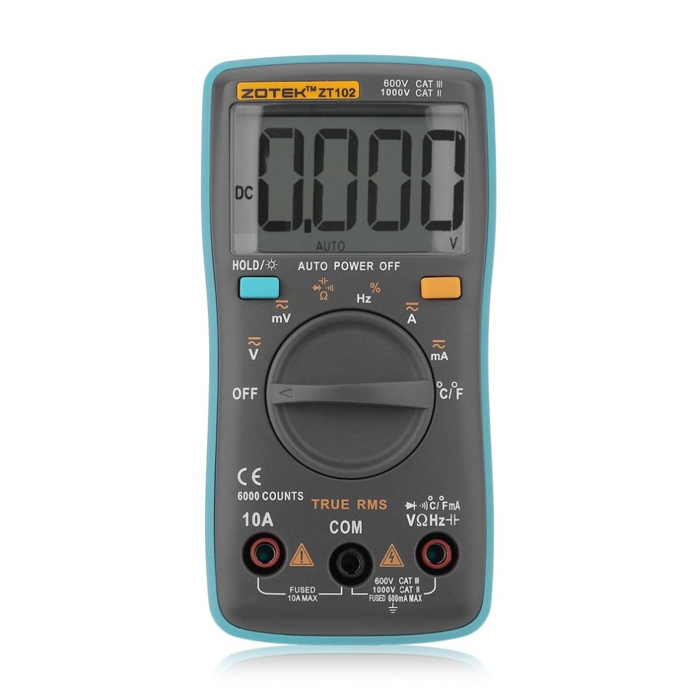 ZT102 Auto Digital Multimeter 6000 Counts Backlight AC/DC Meter Ammeter Voltmeter Low Voltage Temperature Indication Portable