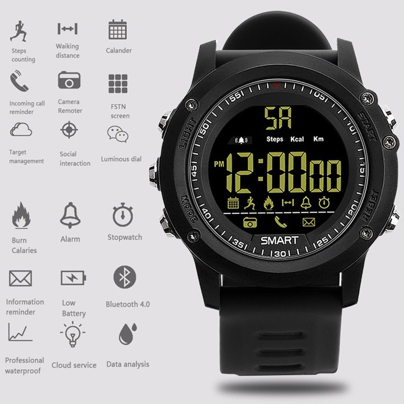 2018 New Fashion Sport Smartwatch 36months Standby Time 24h All-Weather Monitoring Pedometer calorie Smart Watch For IOS Android