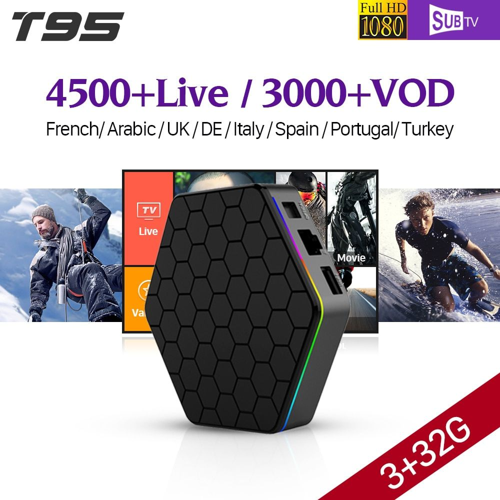 IPTV French T95Z plus S912 3GB 32GB Android 7.1 Smart TV Box 1 Year SUBTV IPTV Turkish Germany Albania Arabic French IPTV Box