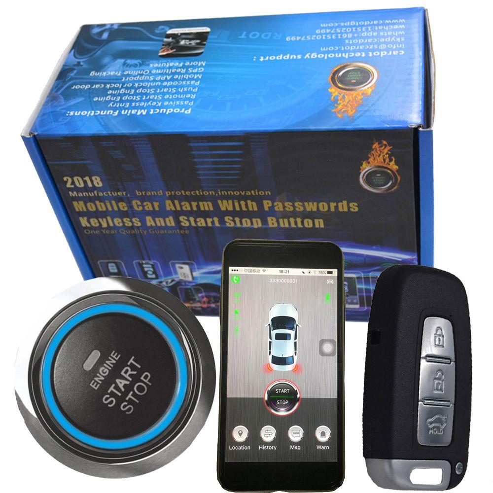 Automotive intelligente rfid gps auto alarm system mit push button start-stop auto motor & smart phone app auto starten