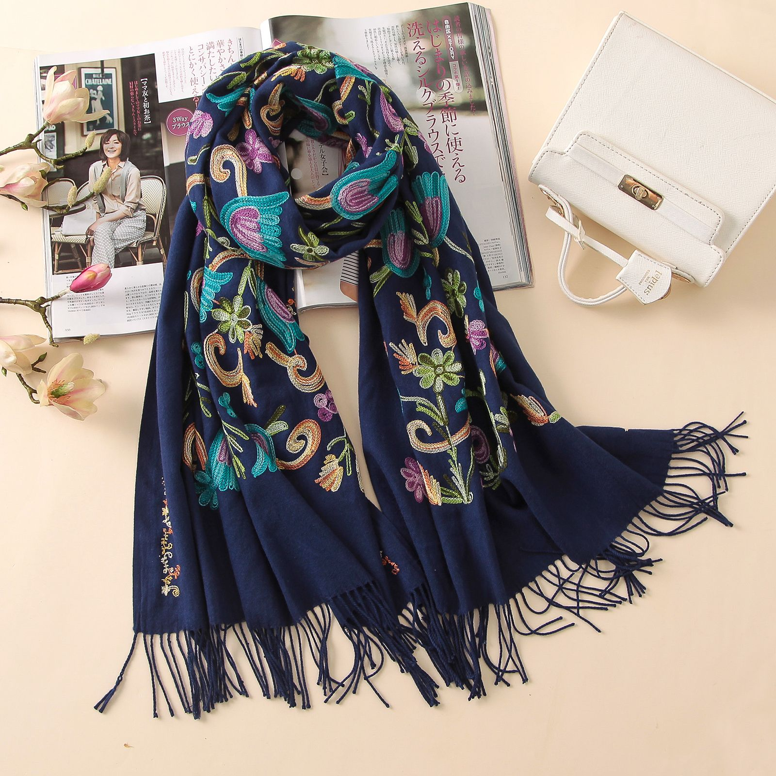 2018 designer quality embroidery <font><b>cashmere</b></font> scarves vintage winter women scarf long size shawls and wraps lady soft warmer foulard