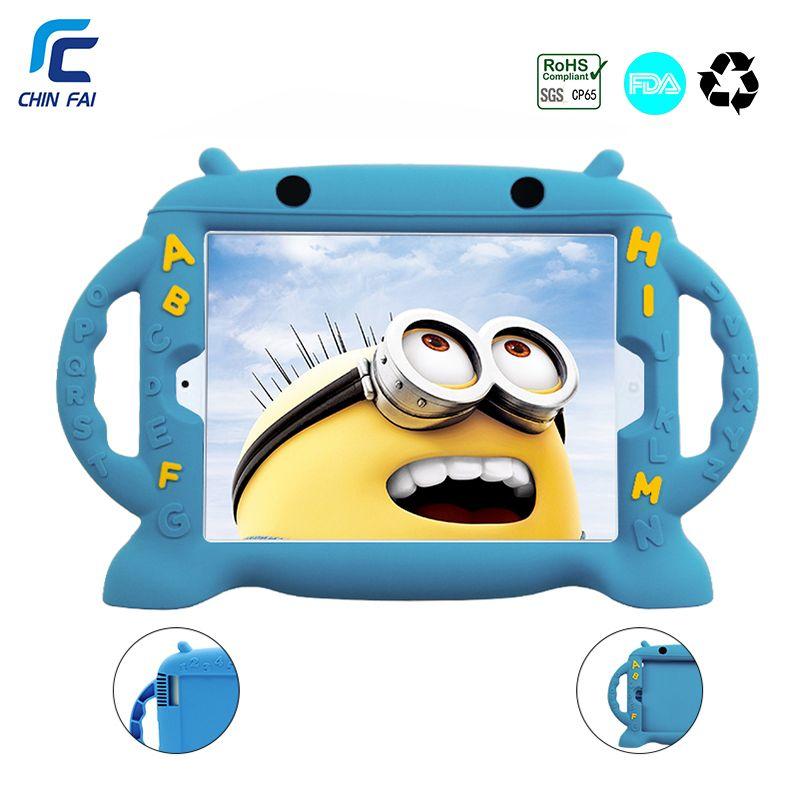 Chinfai Enfant coque en silicone pour iPad 4 Antichoc étui pour iPad 2 Bande Dessinée Sûr Lavable étui pour iPad 2 3 4 9.7 ''avec Voiture sangle