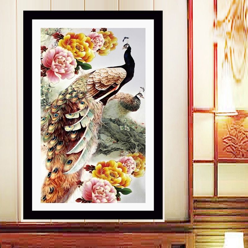 New Home Decoration 5d Diy Diamond Painting Cross Stitch Peacock Peony Diamond Embroidery Crystal Round Diamond Mosaic Pictures