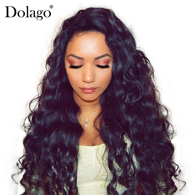 Loose Wave Wig 250% Lace Front Human Hair Wigs For Women Brazilian Remy Hair 13x4 Glueless Lace Frontal Wig Long Black Dolago