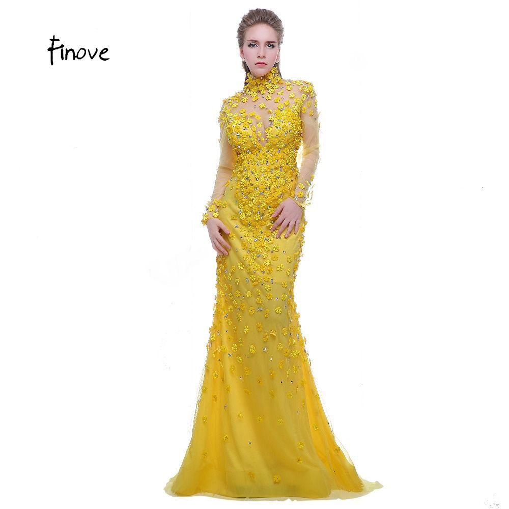 Finove Prom Dress Yellow 2017 High Neck Long Sleeves See Through Back Beading with Flowers Formal Evening Dress Vestido de Festa