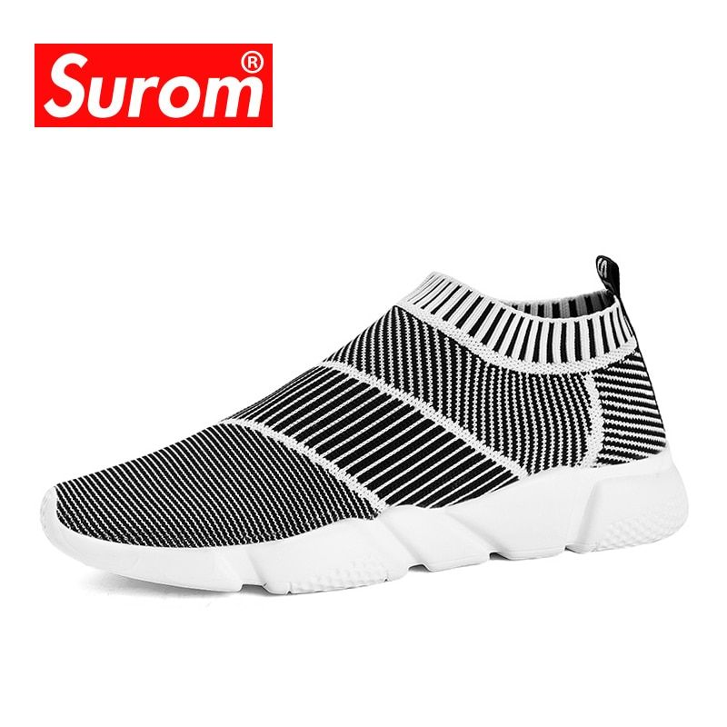 SUROM Brand Summer Men Socks Sneaker Breathable Mesh Male Casual Shoes Slip on Sock Shoes Loafers Boys Super Light Sock Trainers