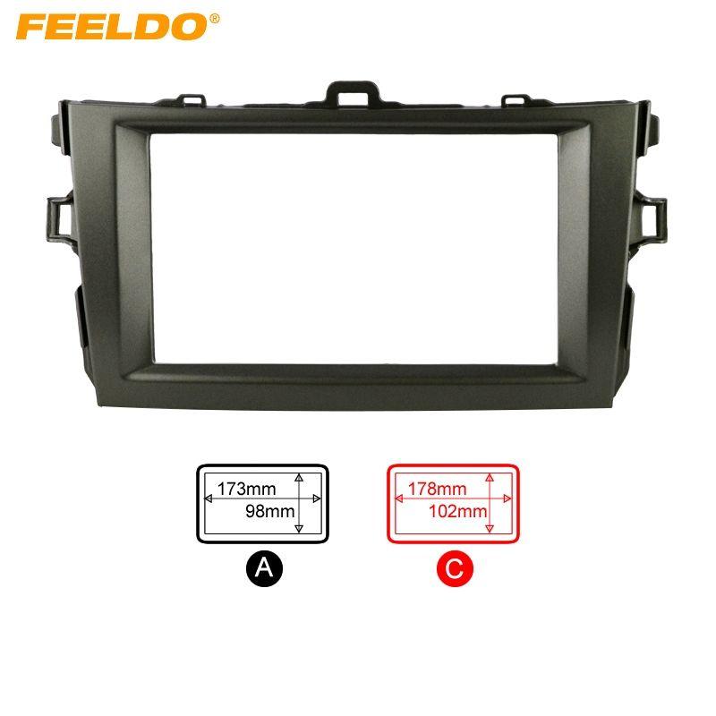 FEELDO Grey Car Refitting 2DIN Radio Stereo DVD Frame Fascia Dash Panel Installation Kits For Toyota Corolla(08~10) #FD-2164