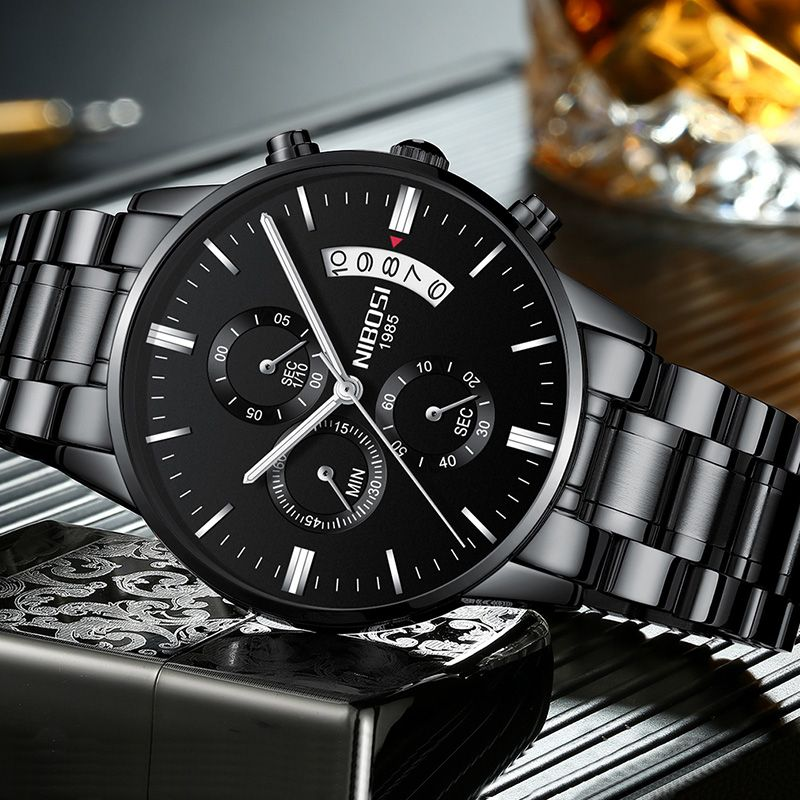 NIBOSI Watch Black Men Watches 2018 Luxury Brand Sport Chronograph Clock Men Watches Stainless Steel Mens Watch Military Army