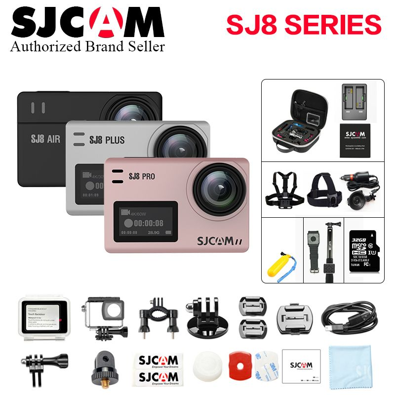 Big Box SJCAM SJ8 Pro & SJ8 Plus & SJ8 Air 4K 60FPS WiFi Remote Helmet Sports Action Camera Ambarella H22 Touch Screen Sport DV