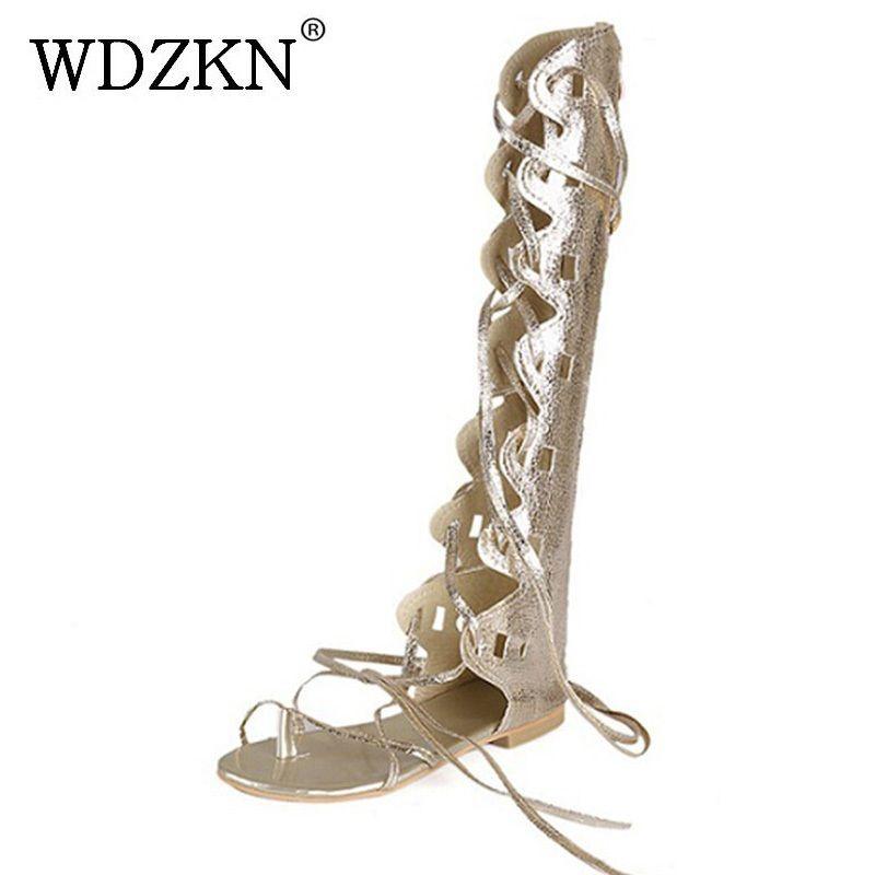 WDZKN new fashion women gold silver cross straps flat heel knee high gladiator sandals sandalia gladiadora plus size 34-43