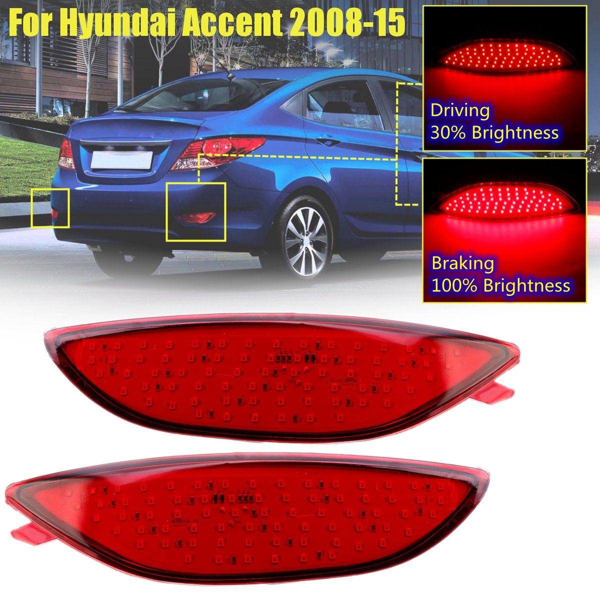 Rear Bumper Tail Reflector Stop Fog Brake Light Red Lens LED Bulb Car Warning Lamp for Hyundai Accent 2008 2009 2010 2011-2015