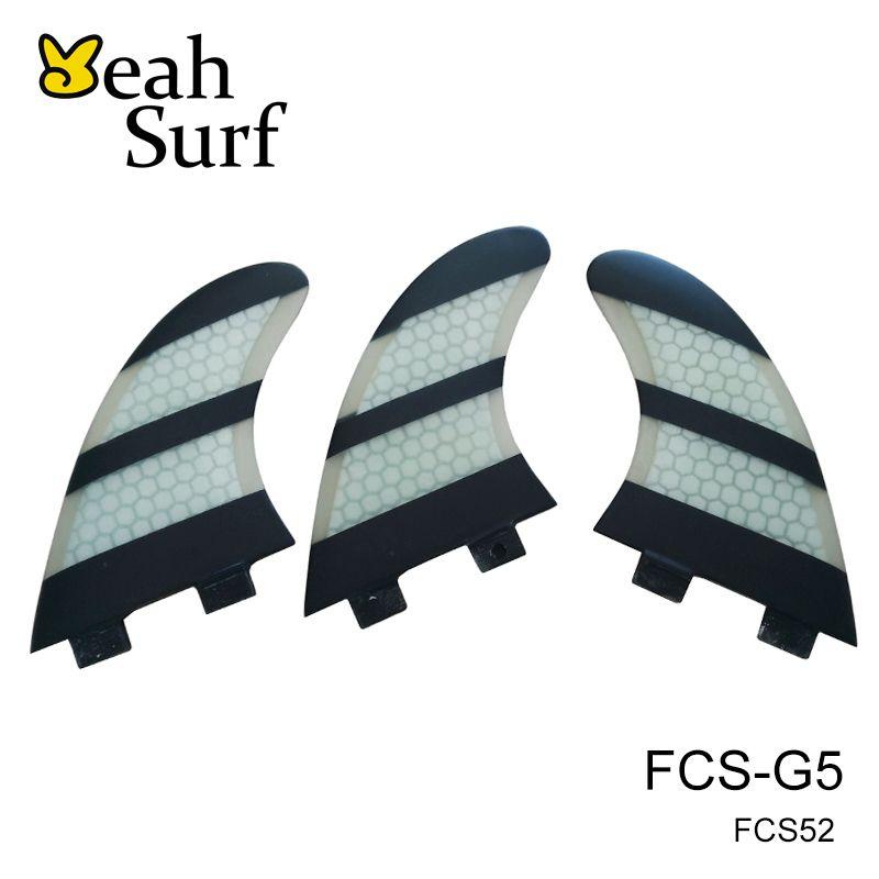 Barbatanas quilhas de Surf FCS G5/G7 White Green Fibreglass Honeycomb Fins SUP Board Fin Tri Set Carbon fiber Surfing Fins