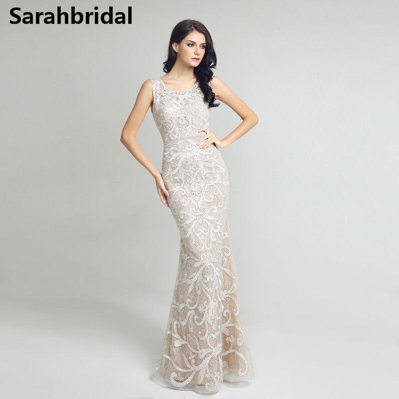 Mermaid Backless Prom Dresses 2017 Jewel Cap Sleeves Long Ivory Evening Party Gowns In Stock Formal vestido de festa longo LX212