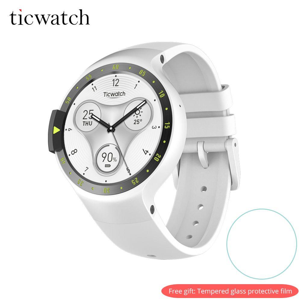 Ticwatch S Smart Uhr Bluetooth 4,1 GPS Herz Rate IP67 Wasserdicht Android Tragen für Android/iOS Freies Geschenk -schutzhülle Film