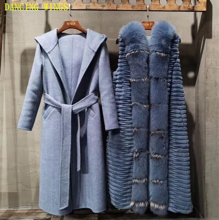 Autumn and Winter Wool Coat Thick Warm Rex Rabbit Fur Liner Casual Hooded Cardigan Real Large Fox Fur Collar Double-Sided Jacket