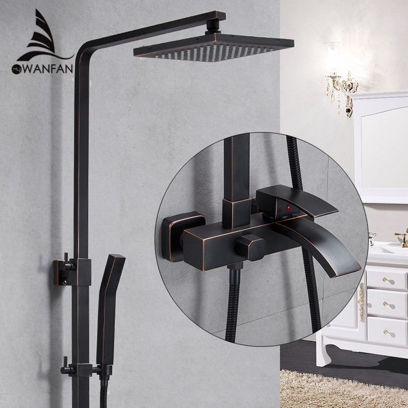 Shower Faucets Brass Black Bathtub Faucet Square Tube Single Handle Top Rain Shower With Slide Bar Wall Water Mixer Tap 9235R