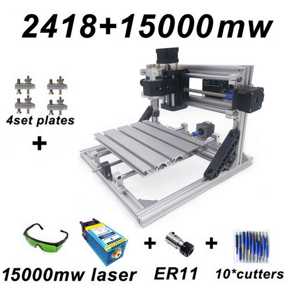 15 W CNC2418 Blau Laser Gravur Maschine mit 500 mw 2500 mw 5500 mw 15000 mw Kopf Holz Router Carving maschine Acryl PCB PVC