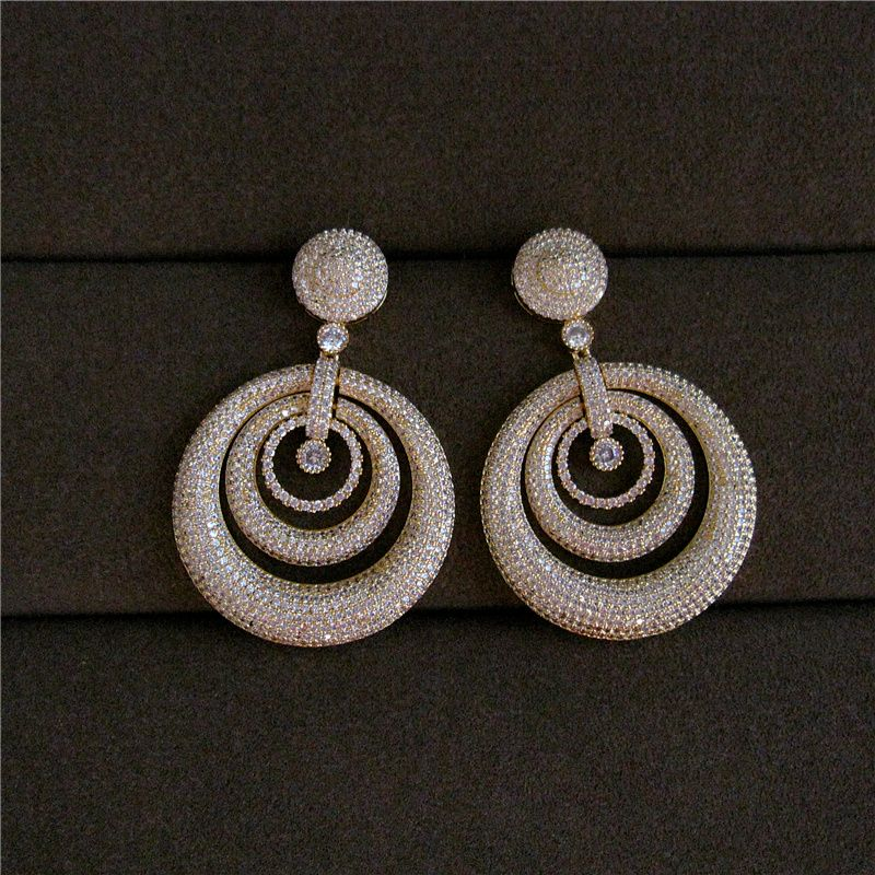 Fashion AAA cubic zirconia Classical retro style hollowed out concentric round big earrings ,women's accessaries,E9784