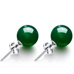 6-8 мм круглый природный зеленый агат, серьги со шпилькой, для Для женщин S925 стерлингового серебра Винтаж изысканное украшение на свадьбу, ...
