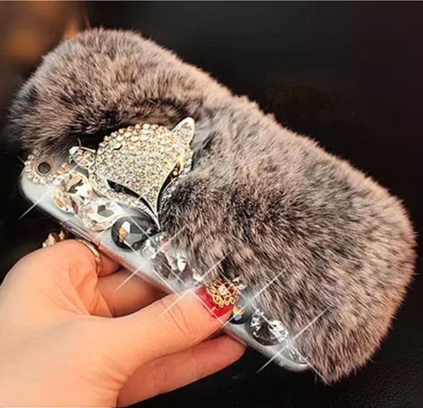 3D De Luxe Bling Diamant Cas De Fourrure De Lapin Renard Tête Téléphone Cas Couverture Pour iPhone 4S 5S 5C 6 6 s plus 7 7 plus Pour Samsung Moble téléphone