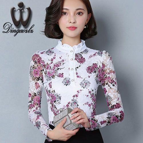 Dingaozlz Automne Blusa Femmes Marque chemise Mince Plus La taille Pirnted chemise à manches longues Femme dentelle Tops Femmes dentelle blouse