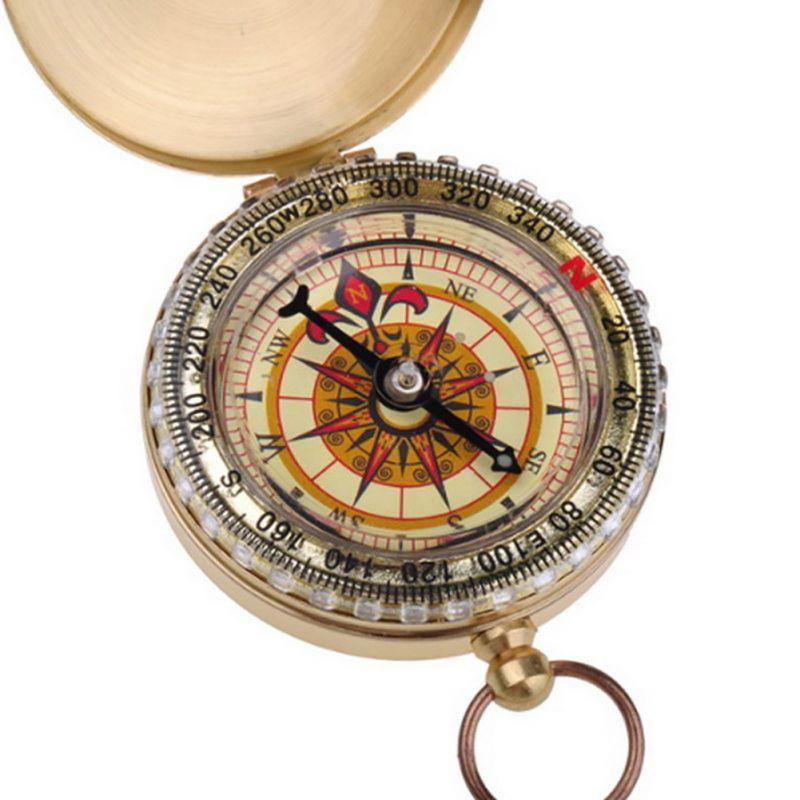 Открытый Отдых Пеший Туризм Портативный латунь карманные золотой двойной Дисплей Компасы навигации брелок Компасы для туризма