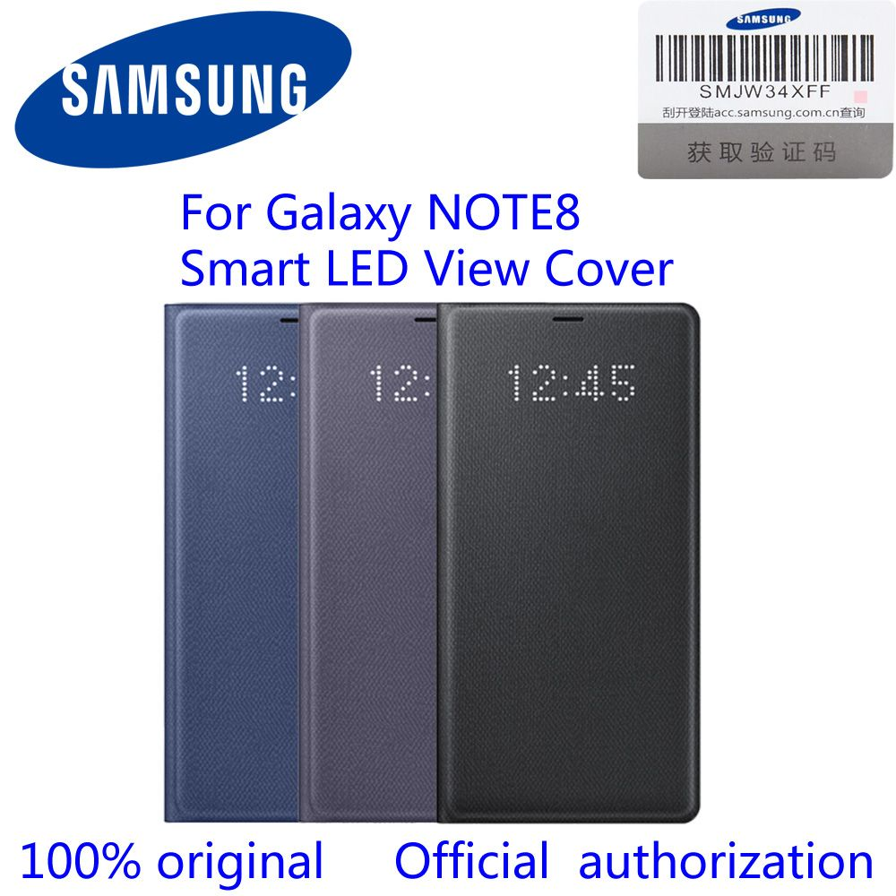 100% Original Official Samsung Galaxy Note8 LED View Wallet Case N950F EF-NN950P n8 led view cover Black/Deep Blue/Orchid Gray