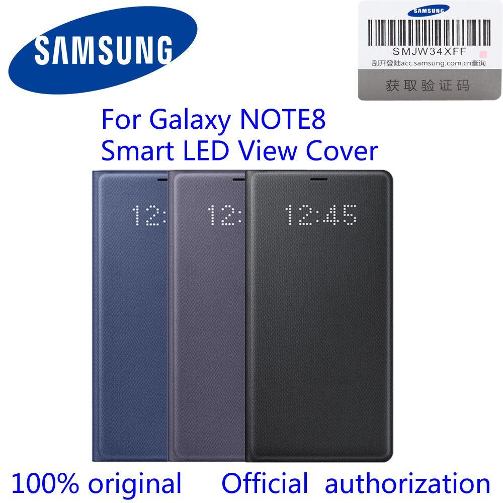 100% Original Offizielle Samsung Galaxy Note8 LED Ansicht Mappenkasten N950F EF-NN950P n8 led ansicht abdeckung Schwarz/Deep Blue/orchidee Grau