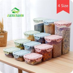 Grano caja de almacenamiento sellado latas cocina del hogar de plástico cubierta con frasco transparente fideos varios grano latas de almacenamiento