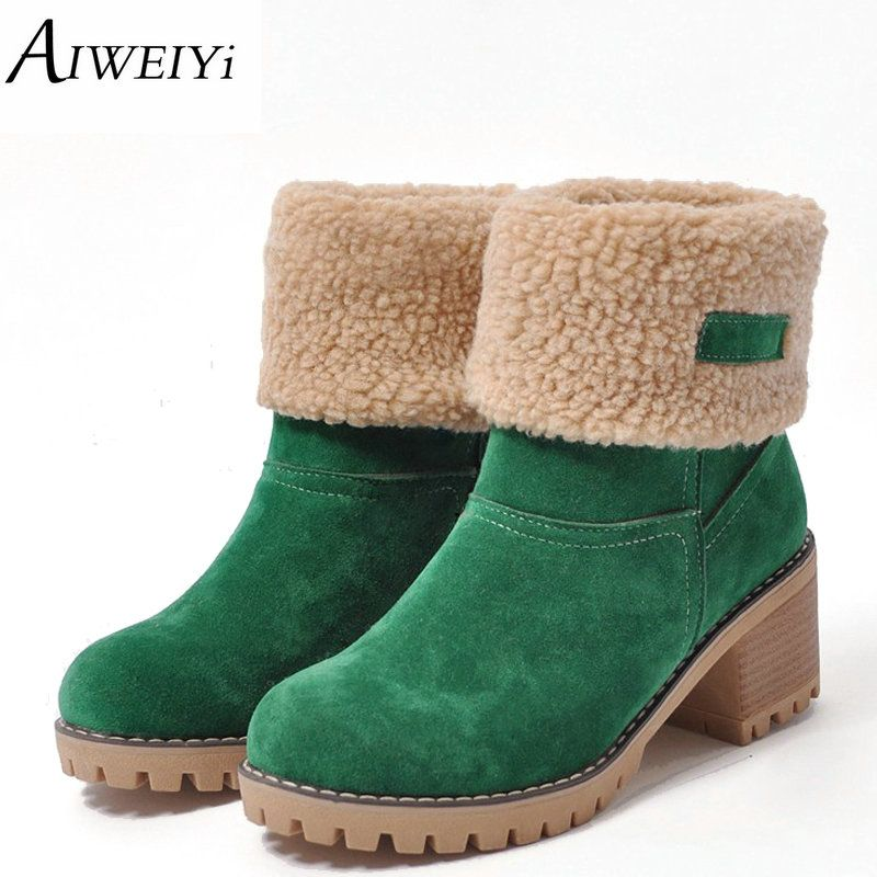 AIWEIYi Brand Women Boots Female Winter Shoes Woman Fur Warm Snow Boots Fashion Square High Heels Ankle Boots Black Green Boots