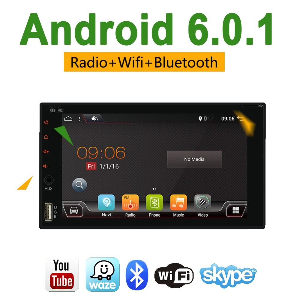 Bosion 2 Din Universal Car Radio Android 6.0 Stereo 2G+16G Quad Core 6.2 Inch GPS Navigation Radio Car Multimedia