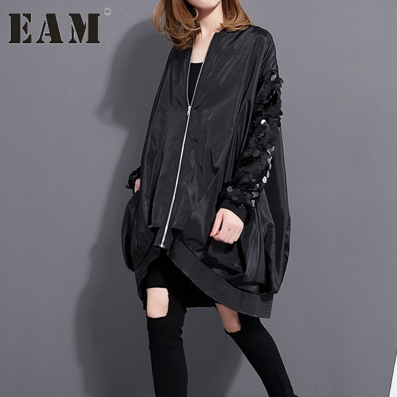 [EAM] 2018 Autumn Winter Fashion New Sequined Collar Long-sleeved Coat Loose Large Size Zipper Thin Jacket Women Coat 1023A1