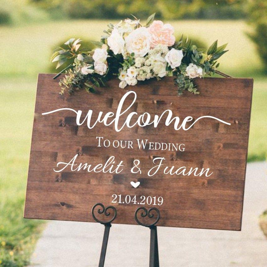 Bienvenue signe de mariage Stickers muraux Mural vinyle décalque fiançailles/célébration/baptême/anniversaire signe décoration de mariage décor