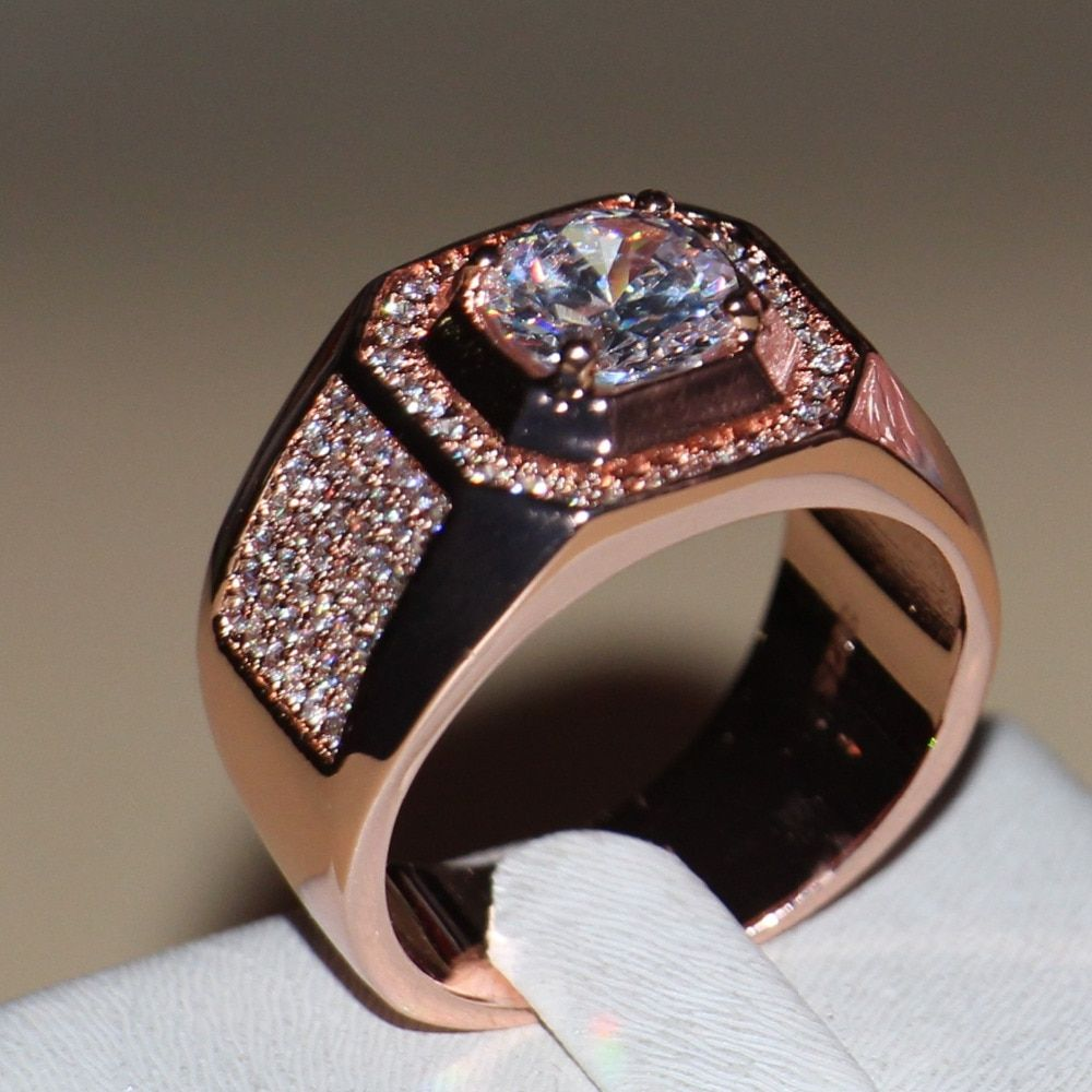 Size 7-13 New Fashion jewelry Handmade Men 3ct Round Cut 5A CZ Rose Gold 925 Sterling Silver Wedding Band Ring Gift choucong