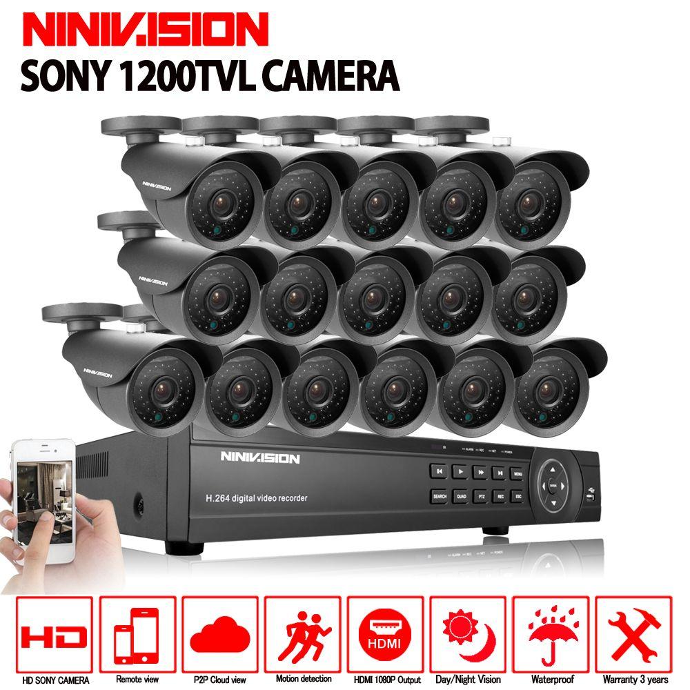 NINIVISION 16 kanal sicherheit 1200TVL video überwachung im freien kamera kit 16ch AHD CCTV DVR aufnahme HDMI 1080 p CCTV system