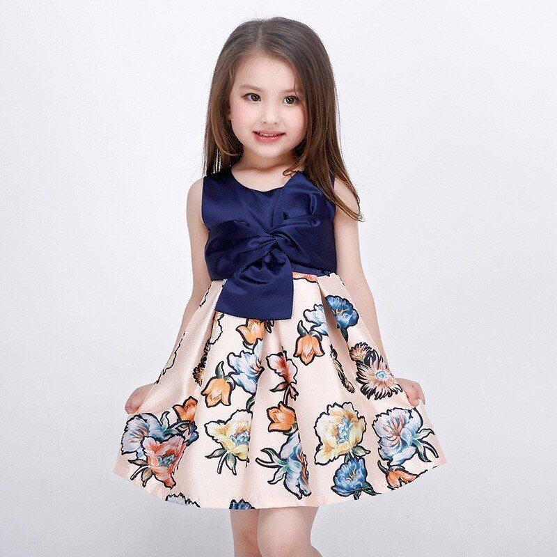 2019 nouveau Style bébé filles été bleu marine robe florale pour enfants fille robe de soirée impression fleur fille robes L-94