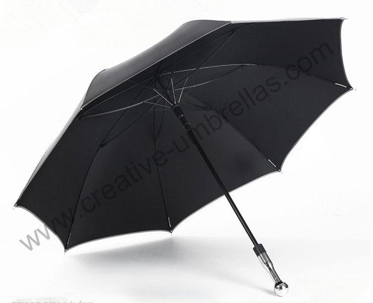 Incassable auto-défense golf voiture parapluies double carbone fibre de verre 210 T Taiwan Formosa anti-uv noir revêtement extérieur parasol